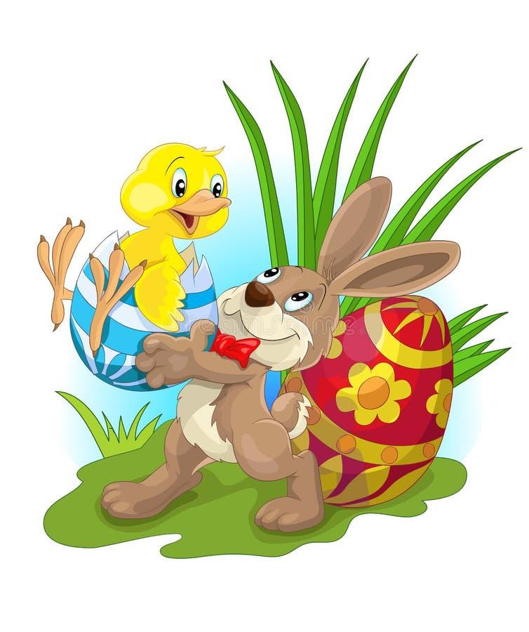Gelukkige Pasen met kip en konijntje vector illustratie