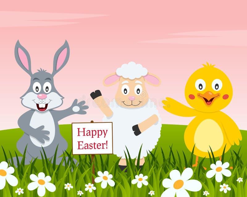 Gelukkige Pasen met Konijn, Lam en Kuiken royalty-vrije illustratie