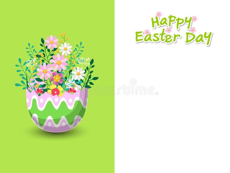 Gelukkige Pasen met mooie ei en bloemenachtergrond De kaart van de groet Vectorillustratie decoratief element op Pasen-Dag vector illustratie