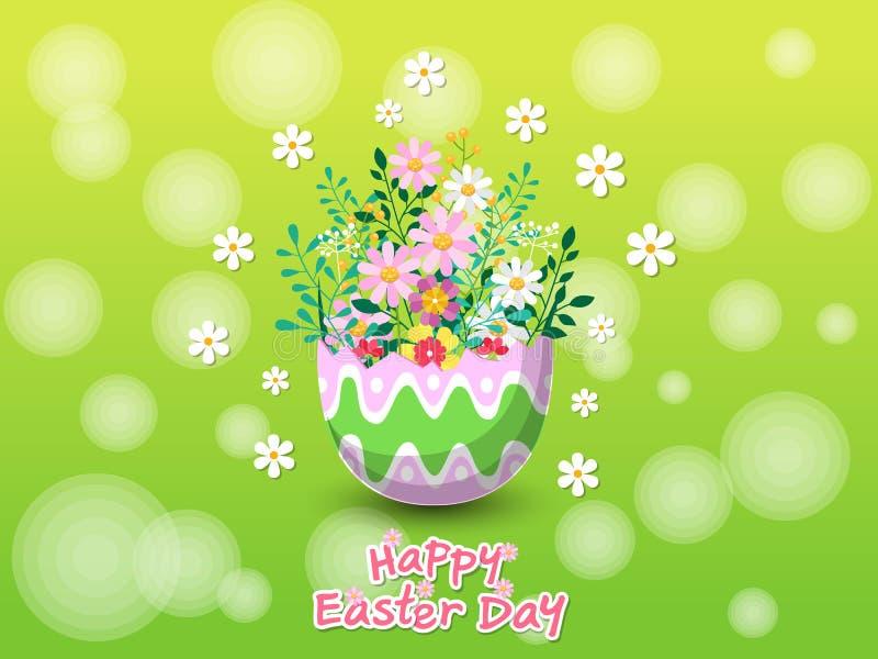 Gelukkige Pasen met mooie ei en bloemenachtergrond De kaart van de groet Vectorillustratie decoratief element op Pasen-Dag royalty-vrije illustratie