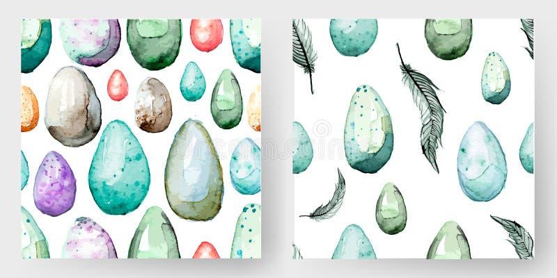 Gelukkige Pasen! Naadloze patroon van het waterverf het hand getrokken paasei 100% vector vector illustratie