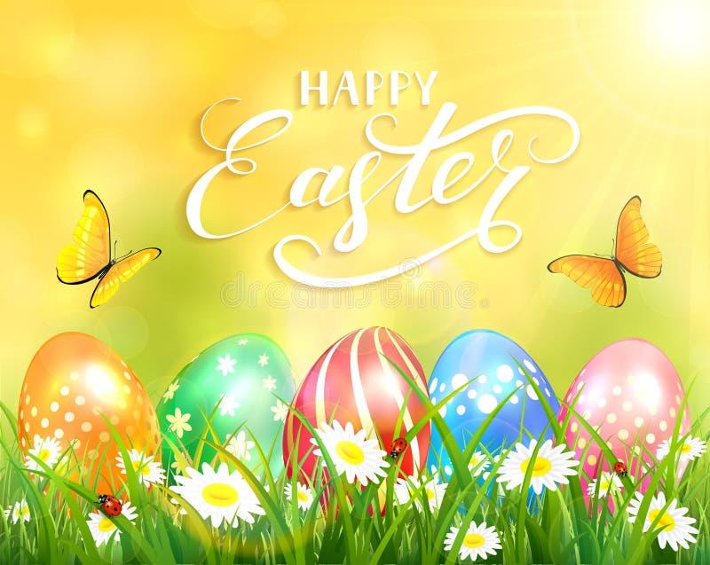 Gelukkige Pasen op gele achtergrond en eieren op gras royalty-vrije illustratie