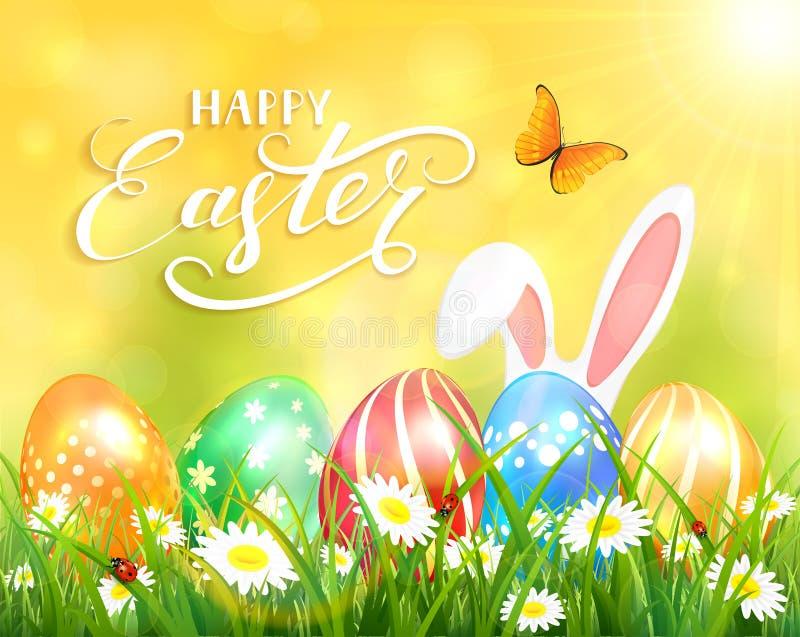 Gelukkige Pasen op gele achtergrond met konijntje en eieren stock illustratie