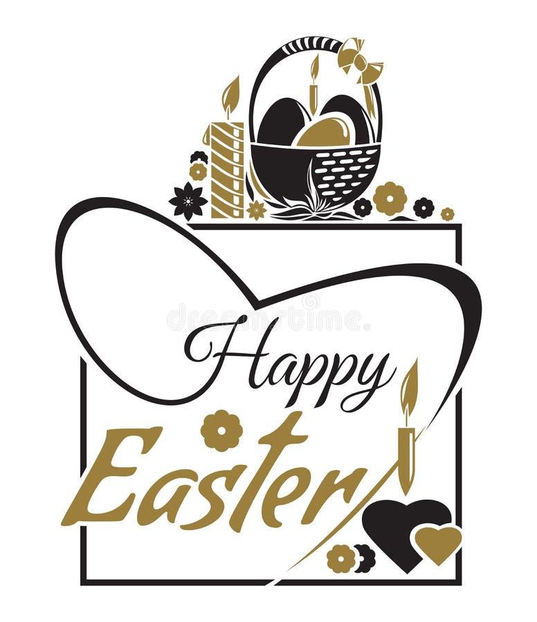 Gelukkige Pasen Pasen-het Van letters voorzien Typografisch ontwerp De groetkaart van Pasen royalty-vrije illustratie