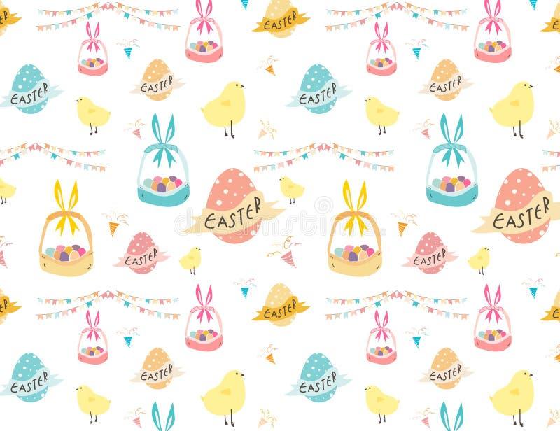 Gelukkige Pasen-patroonachtergrond, Leuk Pasen-patroon voor jonge geitjes royalty-vrije stock foto