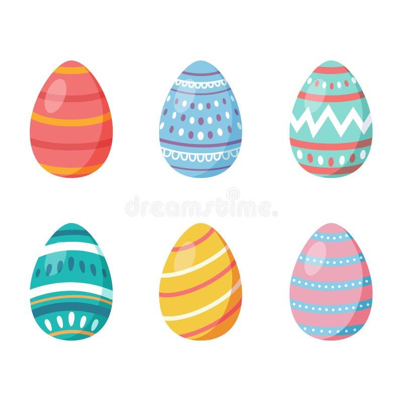Gelukkige Pasen Reeks paaseieren met verschillende textuur op een witte achtergrond De lentevakantie Vector illustratie gelukkig stock illustratie