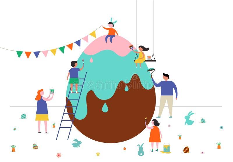 Gelukkige Pasen-scène met families en jonge geitjes stock illustratie