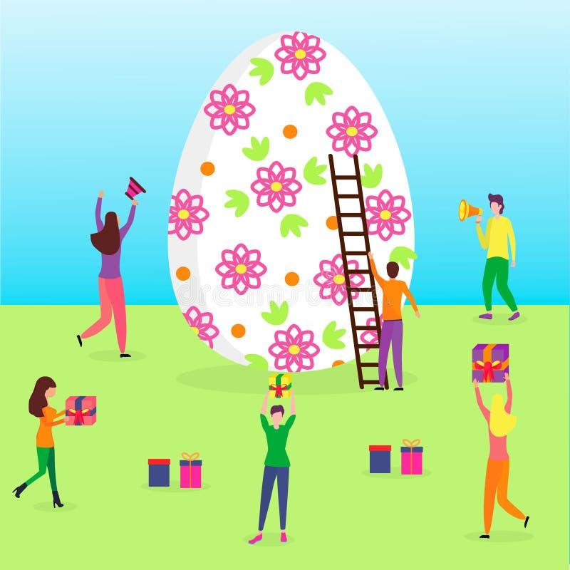 Gelukkige Pasen-sc?ne met uiterst kleine mensen stock illustratie