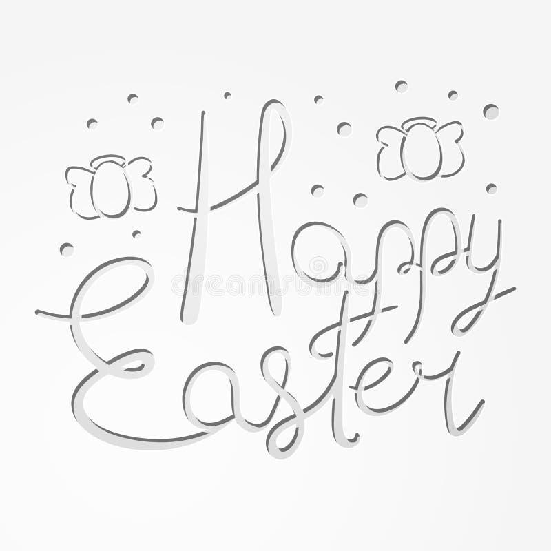 Gelukkige Pasen-tekst met ei-vormige engelen stock illustratie