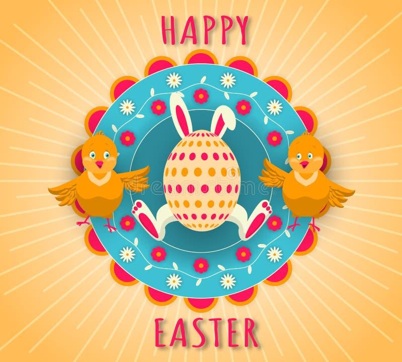 Gelukkige Pasen-vakantie Ei met konijntjesoren en poten, twee grappige kippen op een kleurrijke bloemenachtergrond stock illustratie