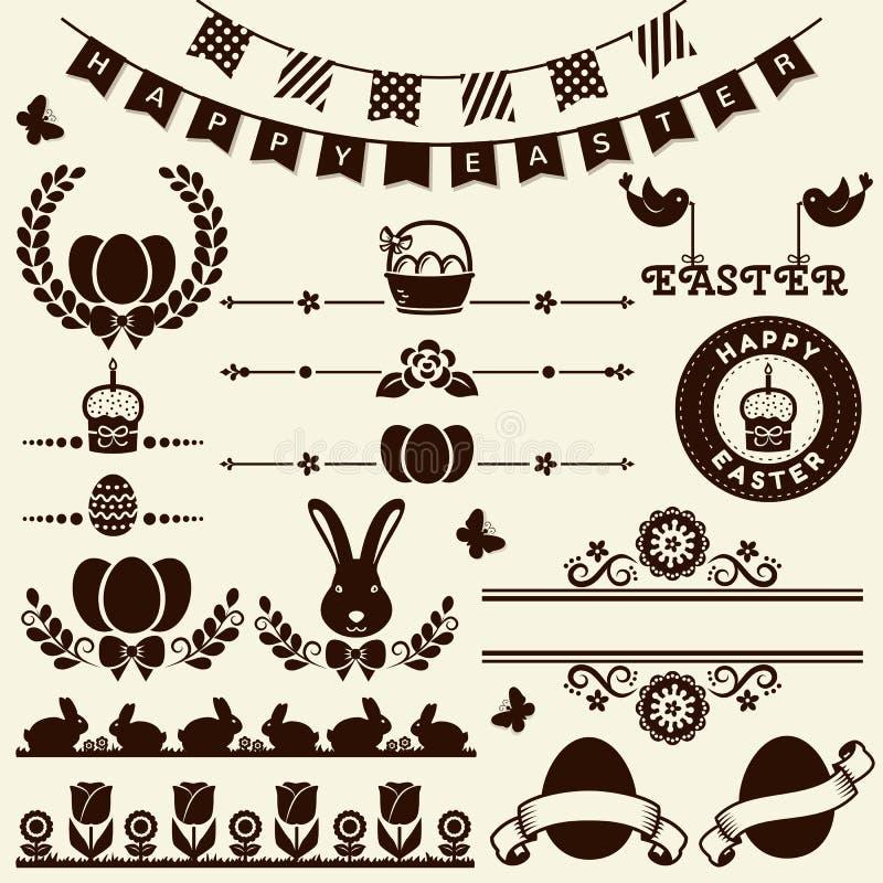 Gelukkige Pasen! Vectorontwerpelementen royalty-vrije illustratie