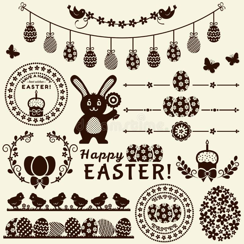 Gelukkige Pasen! Vectorontwerpelementen vector illustratie