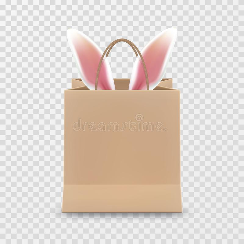 Gelukkige Pasen-Verkoop Realistische die Document het winkelen zak met handvatten op transparante achtergrond worden geïsoleerd V royalty-vrije illustratie