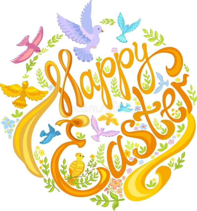 Gelukkige Pasen, vogels en gebladerte: kleine bloemen, groene bladeren royalty-vrije illustratie