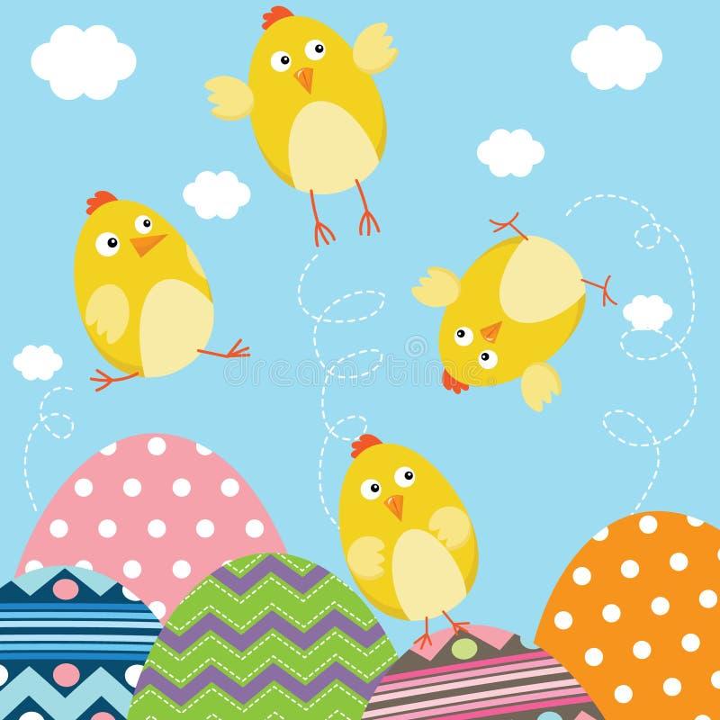 Gelukkige Pasgeboren de Babykuikens van Pasen stock illustratie