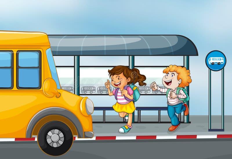 Gelukkige passagiers bij het busstation royalty-vrije illustratie