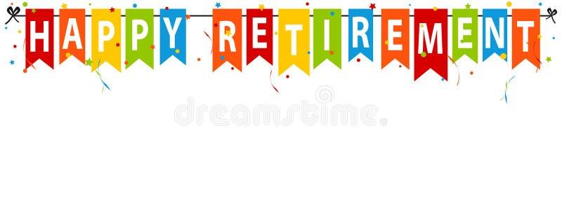 Gelukkige Pensioneringsbanner - VectordieIllustratie - op Wit wordt geïsoleerd