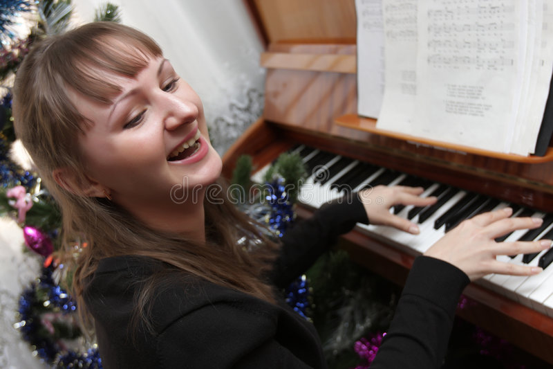 Gelukkige pianist royalty-vrije stock foto