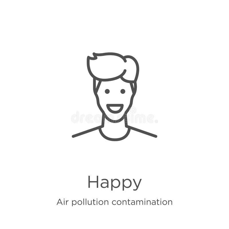 gelukkige pictogramvector van de inzameling van de luchtvervuilingsverontreiniging Dunne het pictogram vectorillustratie van het  royalty-vrije illustratie