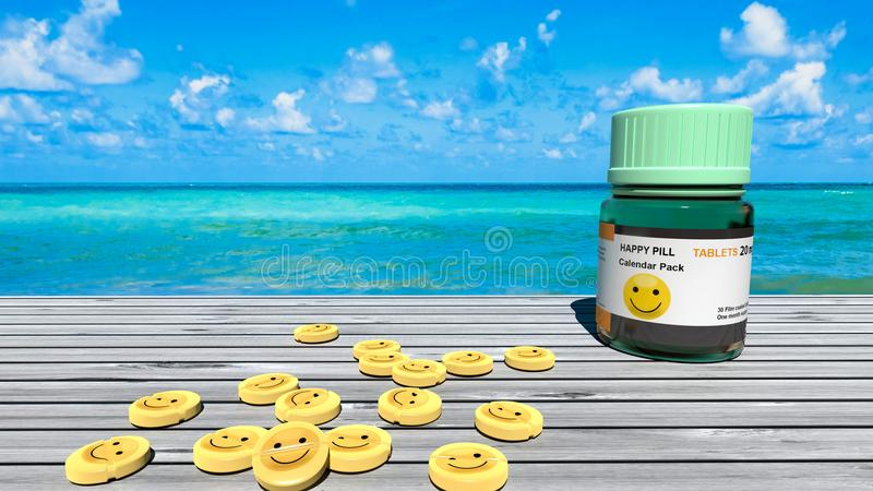 Gelukkige pillen, smileylijsten, droefheidsbehandeling, perfecte blauwe oceaan en een zonnige dag stock afbeelding