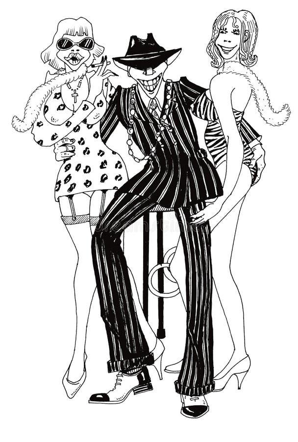 Gelukkige pimp royalty-vrije illustratie