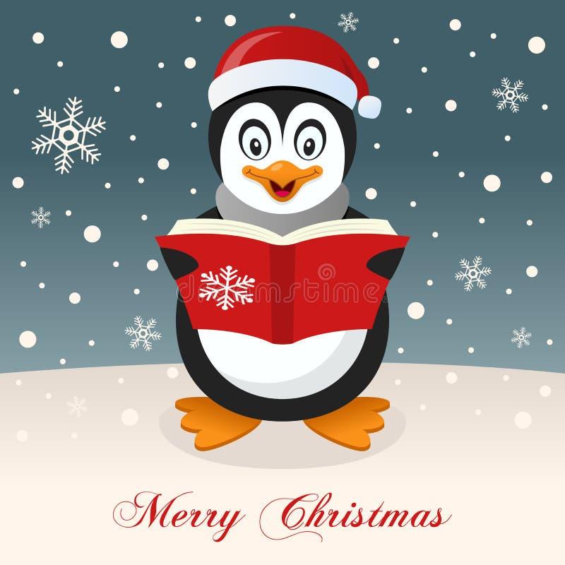 Gelukkige Pinguïn die Vrolijke Kerstmis wensen royalty-vrije illustratie