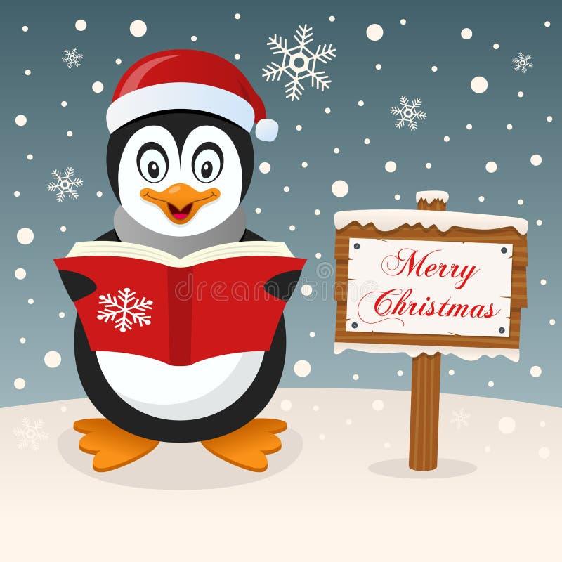 Gelukkige Pinguïn & Vrolijk Kerstmisteken royalty-vrije illustratie
