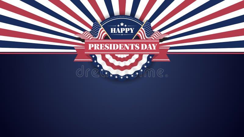 Gelukkige Presidenten Day Banner Background en Groetkaarten Vector illustratie stock illustratie
