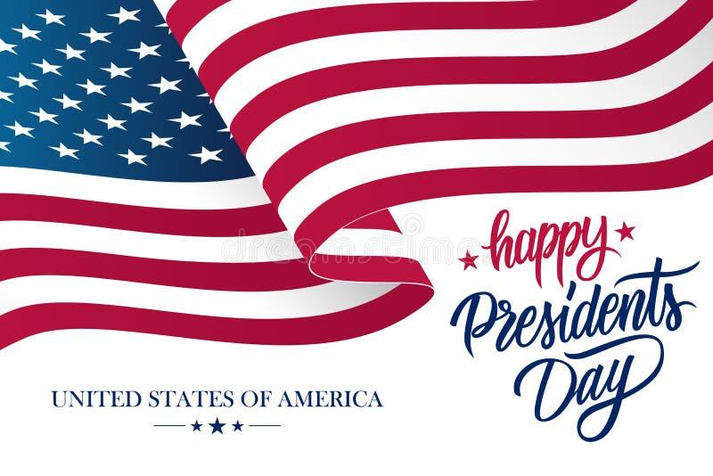 Gelukkige Presidenten Day vieren banner met golvende de vlag en de hand het van letters voorzien van Verenigde Staten nationale v vector illustratie