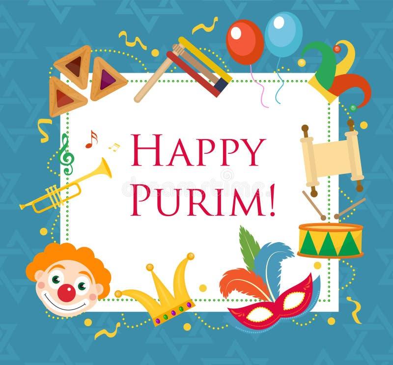 Gelukkige Purim, de kaart van de malplaatjegroet, affiche, vlieger, kader voor tekst Joodse vakantie, Carnaval Vector illustratie royalty-vrije illustratie