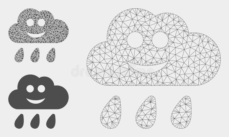 Gelukkige Regenwolk Vector het Mozaïekpictogram van Mesh Carcass Model en van de Driehoek stock illustratie