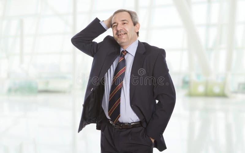 Gelukkige rijpe zakenman stock foto's
