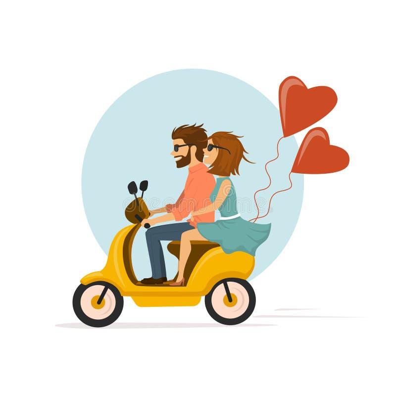 Gelukkige romantische vrolijke paar berijdende autoped met hart gevormde ballons stock illustratie