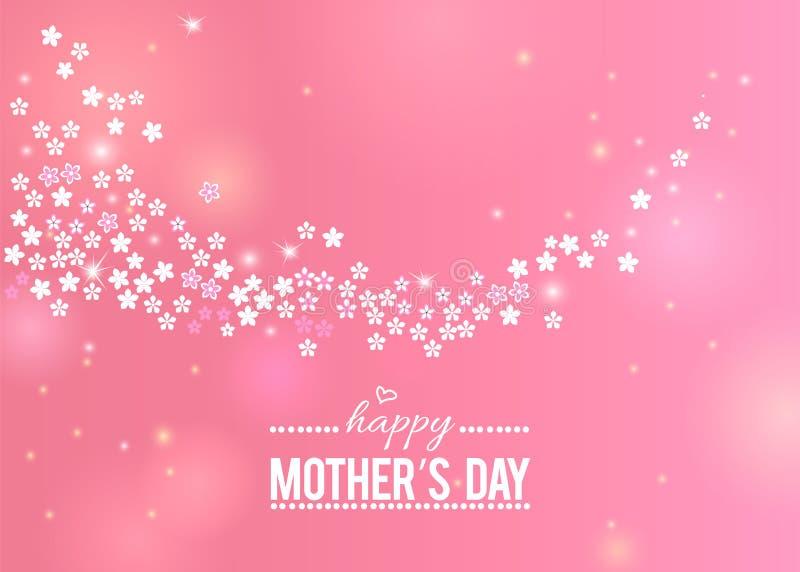 Gelukkige roze de groetkaart van de Moeder` s Dag met witte bloemengrens royalty-vrije illustratie