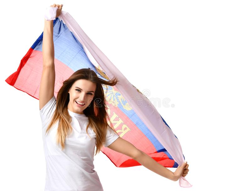 Gelukkige Russische voetbalventilator met het nationale vlag het schreeuwen vieren of het schreeuwen royalty-vrije stock foto's