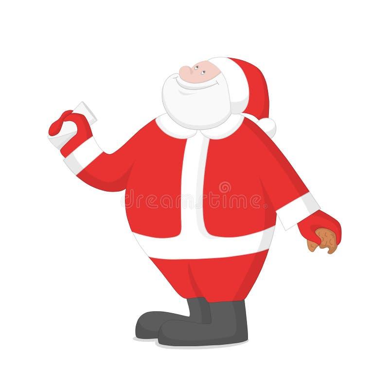 Gelukkige Santa Claus-consumptiemelk met koekjes vector illustratie