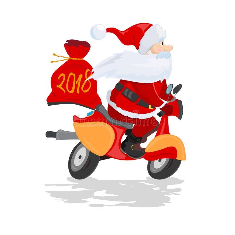 Gelukkige Santa Claus met een giftzak die een autoped berijden royalty-vrije illustratie