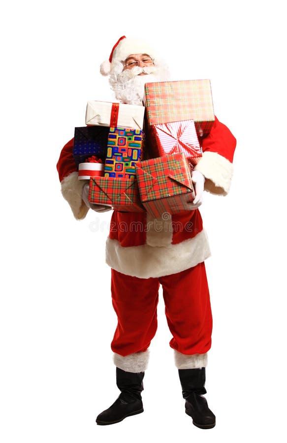 Gelukkige Santa Claus met Kerstmis stelt voor stock fotografie