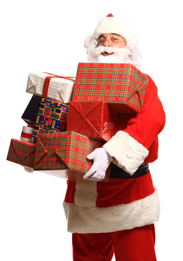 Gelukkige Santa Claus met Kerstmis stelt voor stock foto's