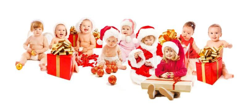 Gelukkige santajonge geitjes royalty-vrije stock afbeeldingen