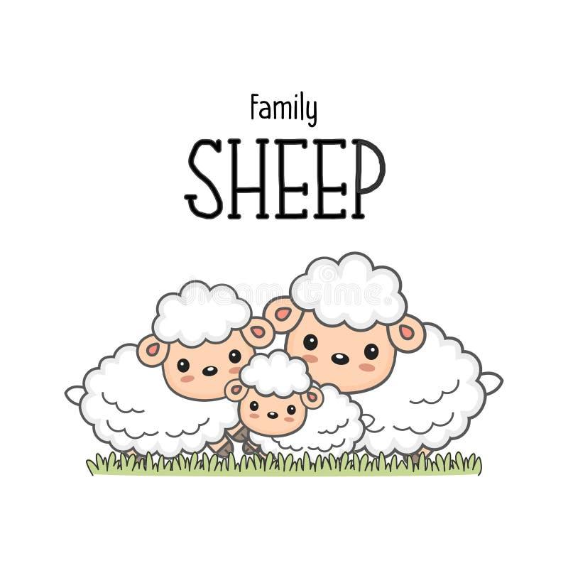 Gelukkige schapenfamilie op het gras stock illustratie