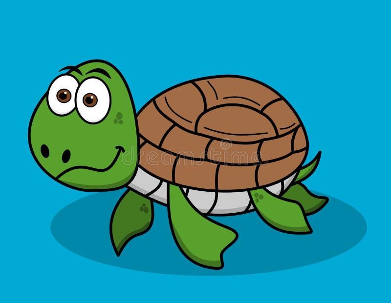 Gelukkige schildpad die op blauwe achtergrond zwemmen royalty-vrije illustratie
