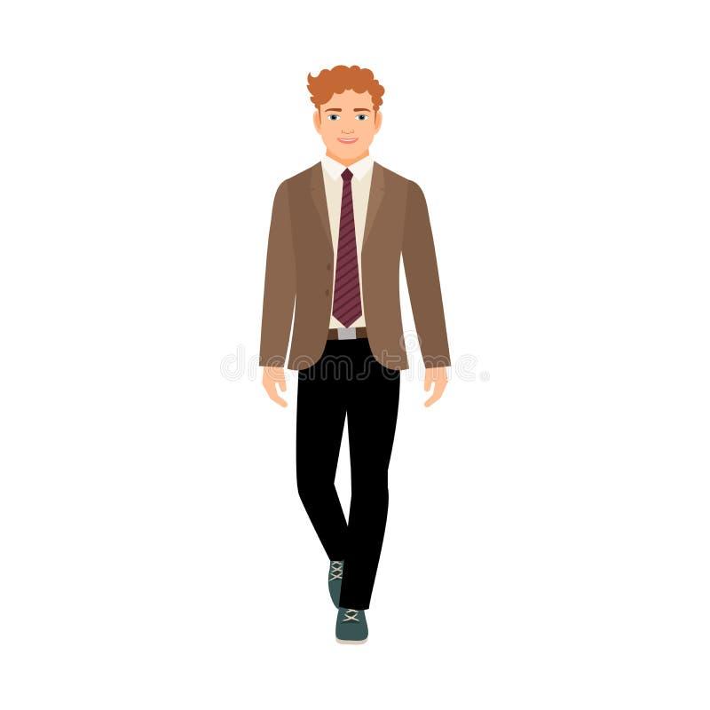 Gelukkige schooljongen in bruin jasje royalty-vrije illustratie