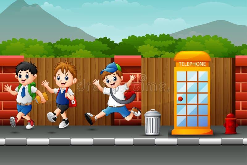 Gelukkige schoolkinderen die en in de kant van de weg springen lachen vector illustratie