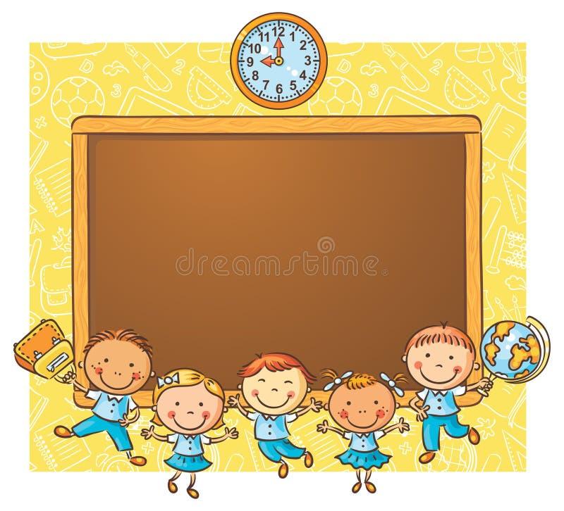 Gelukkige schoolkinderen met een bord royalty-vrije illustratie