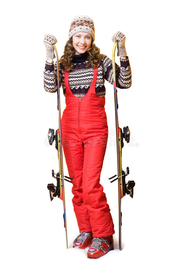 Gelukkige skiër royalty-vrije stock foto's