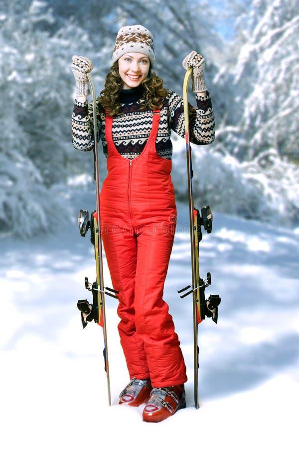 Gelukkige skiër stock foto