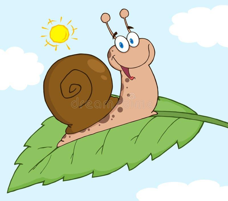 Gelukkige slak op een blad stock illustratie