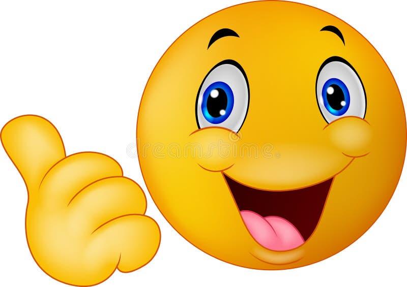 Gelukkige smiley die emoticon beduimelt omhoog geven vector illustratie
