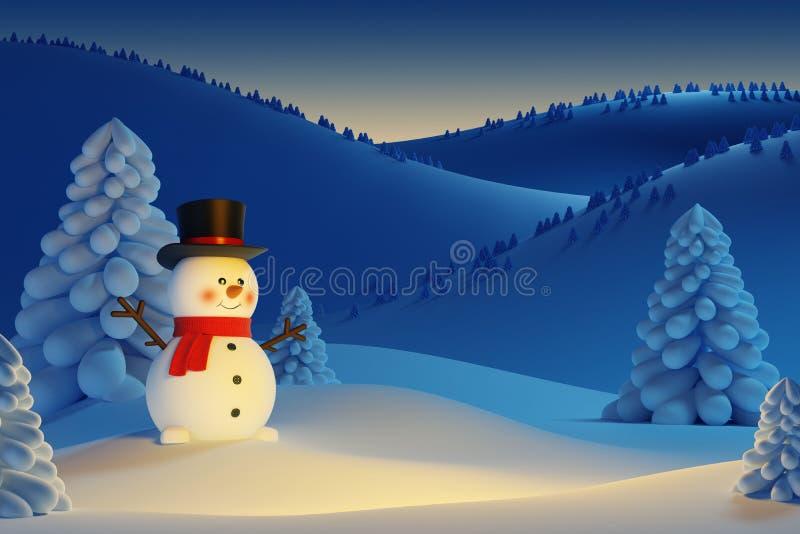 Gelukkige sneeuwman in de nacht stock illustratie